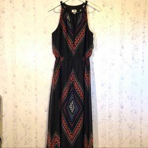 Old Navy Black Tribal Print Halter Maxi Dress Sz L